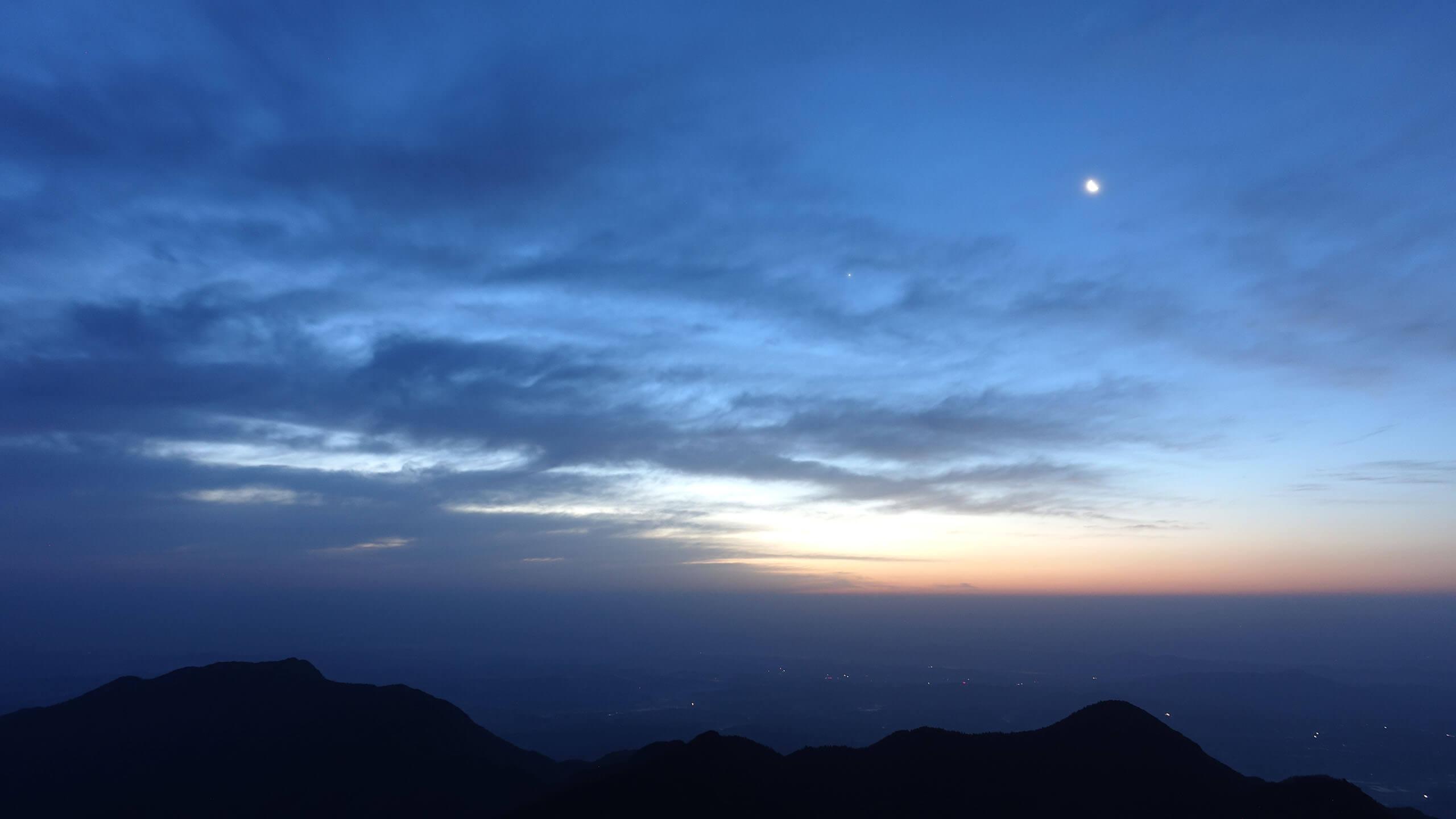 衡山日出之白昼临近